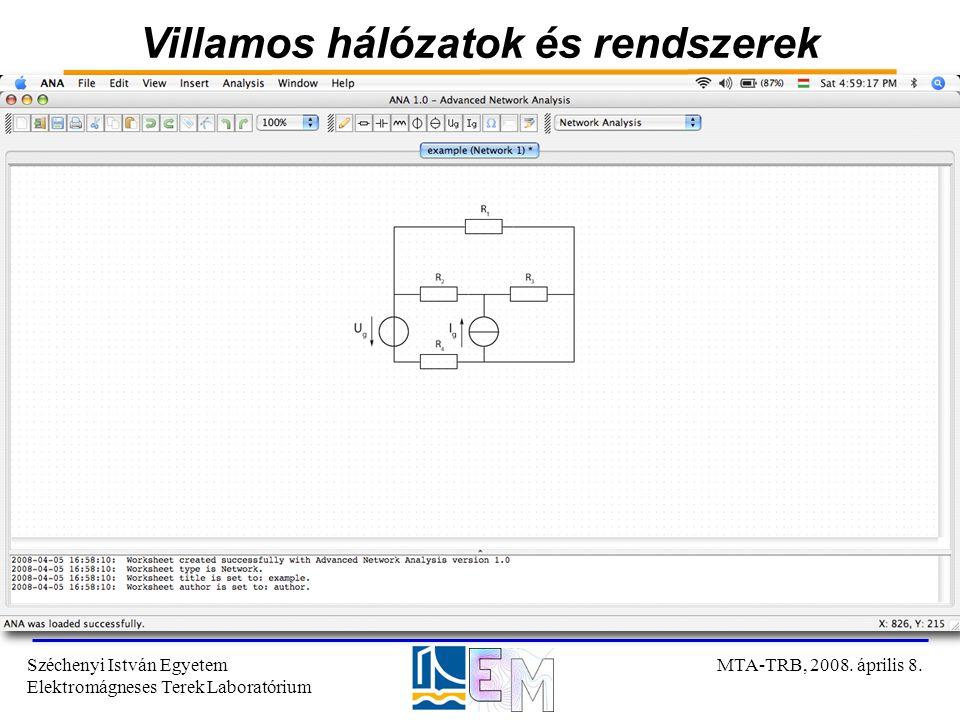 Villamos hálózatok és rendszerek Széchenyi István Egyetem Elektromágneses Terek Laboratórium MTA-TRB, 2008. április 8.