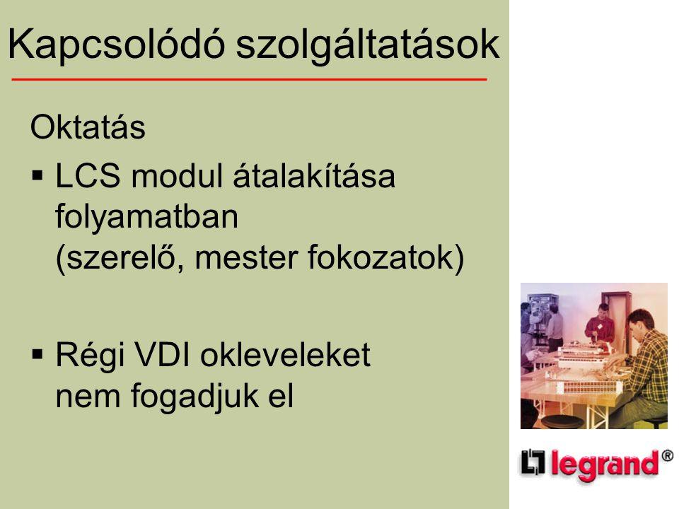 Kapcsolódó szolgáltatások Oktatás  LCS modul átalakítása folyamatban (szerelő, mester fokozatok)  Régi VDI okleveleket nem fogadjuk el