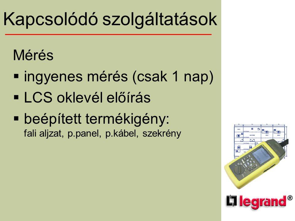 Mérés  ingyenes mérés (csak 1 nap)  LCS oklevél előírás  beépített termékigény: fali aljzat, p.panel, p.kábel, szekrény Kapcsolódó szolgáltatások