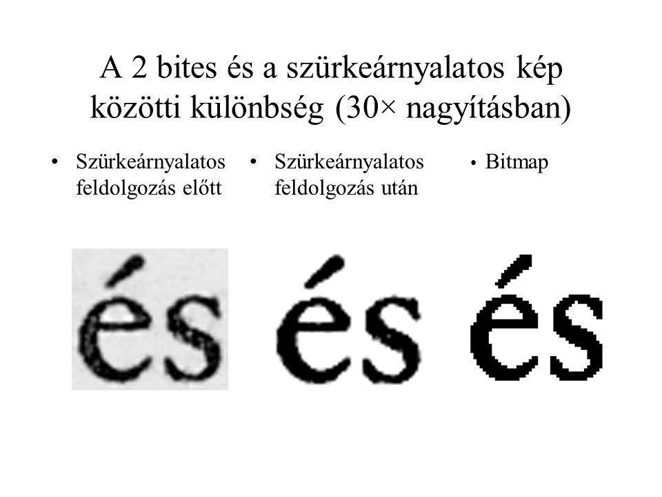 A 2 bites és a szürkeárnyalatos kép közötti különbség (30× nagyításban) Szürkeárnyalatos feldolgozás előtt Szürkeárnyalatos feldolgozás után Bitmap