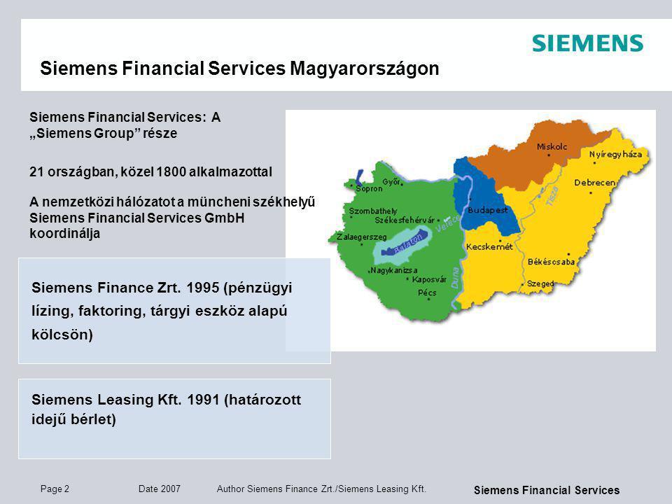 Page 3 Date 2007 Author Siemens Finance Zrt./Siemens Leasing Kft.