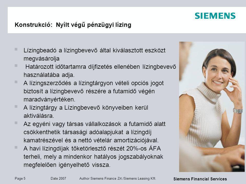 Page 6 Date 2007 Author Siemens Finance Zrt./Siemens Leasing Kft.
