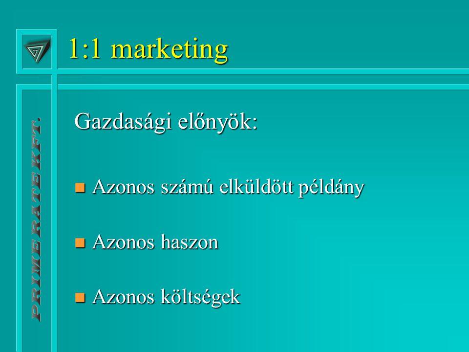 1:1 marketing Gazdasági előnyök: n Azonos számú elküldött példány n Azonos haszon n Azonos költségek