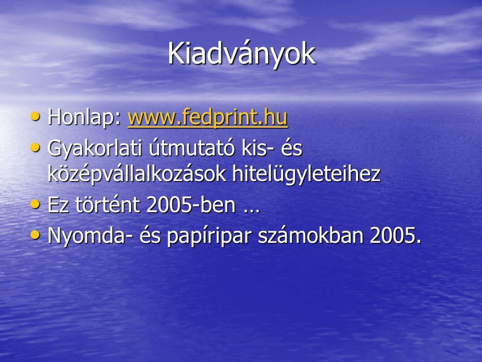 Kiadványok Honlap: www.fedprint.hu Honlap: www.fedprint.huwww.fedprint.hu Gyakorlati útmutató kis- és középvállalkozások hitelügyleteihez Gyakorlati útmutató kis- és középvállalkozások hitelügyleteihez Ez történt 2005-ben … Ez történt 2005-ben … Nyomda- és papíripar számokban 2005.