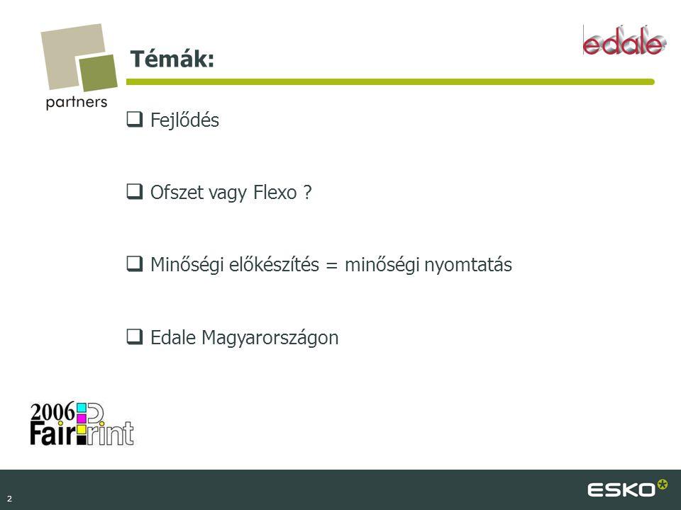 2 Témák:  Fejlődés  Ofszet vagy Flexo ?  Minőségi előkészítés = minőségi nyomtatás  Edale Magyarországon