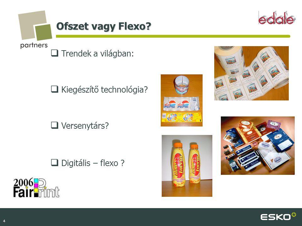 4 Ofszet vagy Flexo?  Trendek a világban:  Kiegészítő technológia?  Versenytárs?  Digitális – flexo ?