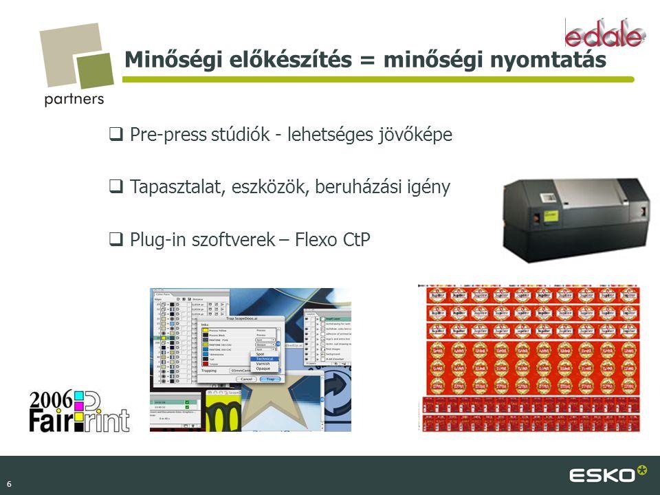 6 Minőségi előkészítés = minőségi nyomtatás  Pre-press stúdiók - lehetséges jövőképe  Tapasztalat, eszközök, beruházási igény  Plug-in szoftverek –