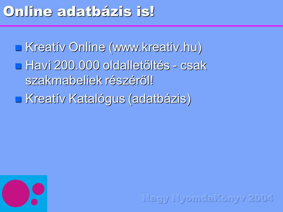 Online adatbázis is! n Kreatív Online (www.kreativ.hu) n Havi 200.000 oldalletöltés - csak szakmabeliek részéről! n Kreatív Katalógus (adatbázis)