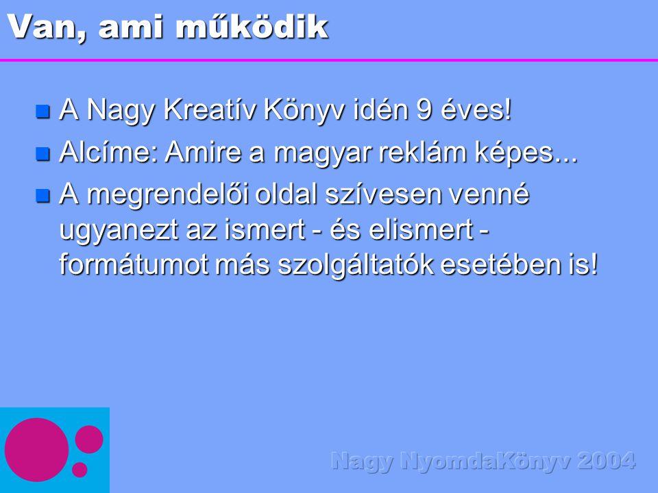 Van, ami működik n A Nagy Kreatív Könyv idén 9 éves! n Alcíme: Amire a magyar reklám képes... n A megrendelői oldal szívesen venné ugyanezt az ismert