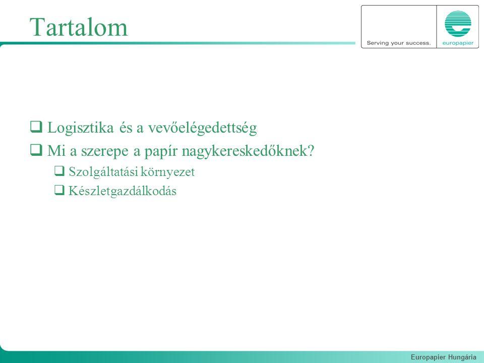 Europapier Hungária Tartalom  Logisztika és a vevőelégedettség  Mi a szerepe a papír nagykereskedőknek?  Szolgáltatási környezet  Készletgazdálkod