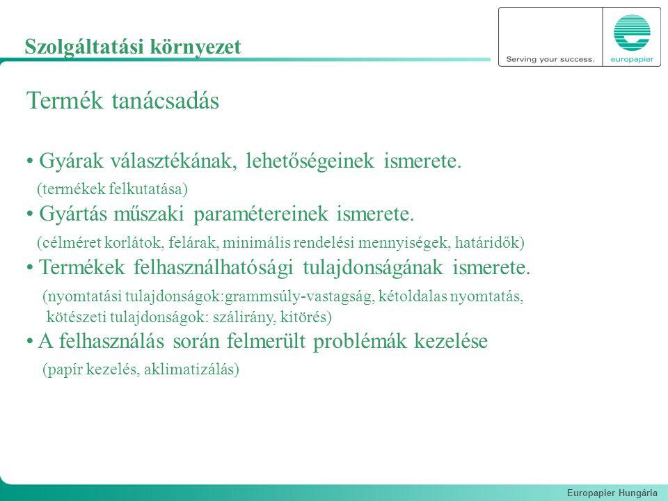 Europapier Hungária Termék tanácsadás Gyárak választékának, lehetőségeinek ismerete. (termékek felkutatása) Gyártás műszaki paramétereinek ismerete. (