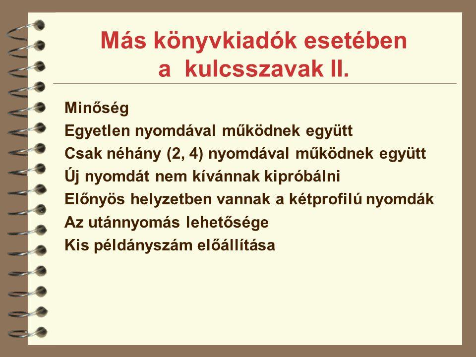 Más könyvkiadók esetében a kulcsszavak II.