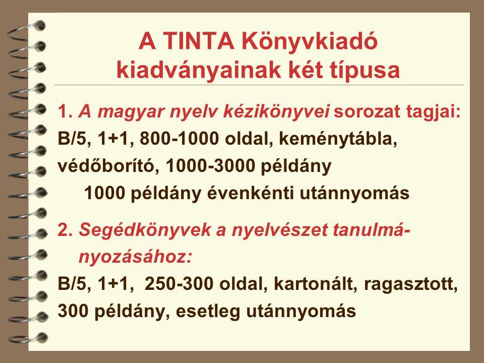 A TINTA Könyvkiadó kiadványainak két típusa 1. A magyar nyelv kézikönyvei sorozat tagjai: B/5, 1+1, 800-1000 oldal, keménytábla, védőborító, 1000-3000