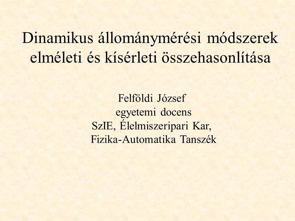Dinamikus állománymérési módszerek elméleti és kísérleti összehasonlítása Felföldi József egyetemi docens SzIE, Élelmiszeripari Kar, Fizika-Automatika Tanszék
