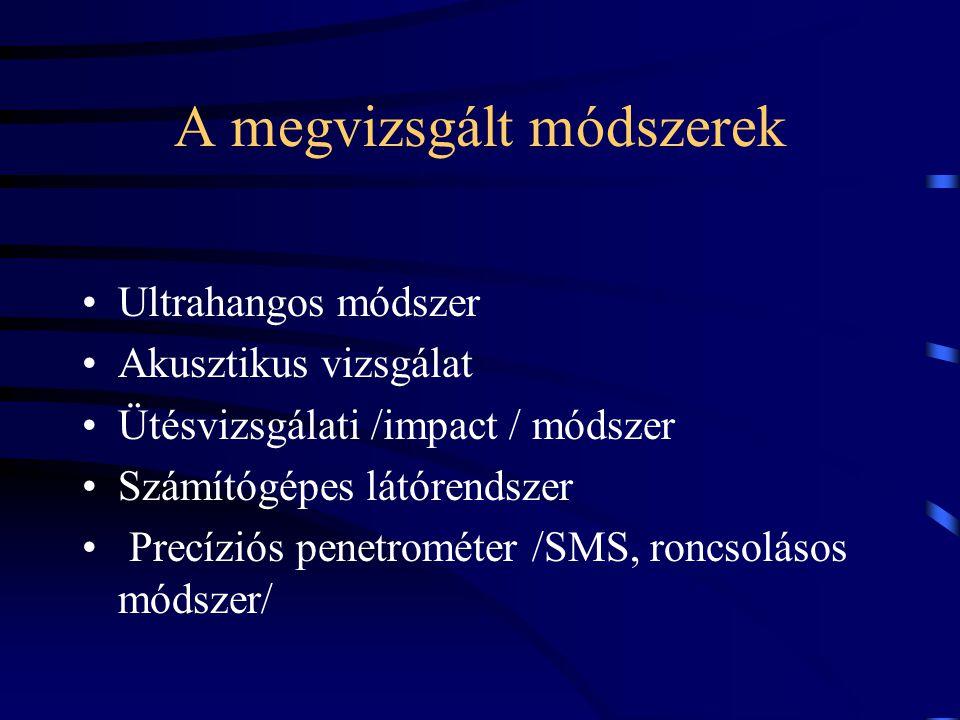 A megvizsgált módszerek Ultrahangos módszer Akusztikus vizsgálat Ütésvizsgálati /impact / módszer Számítógépes látórendszer Precíziós penetrométer /SMS, roncsolásos módszer/