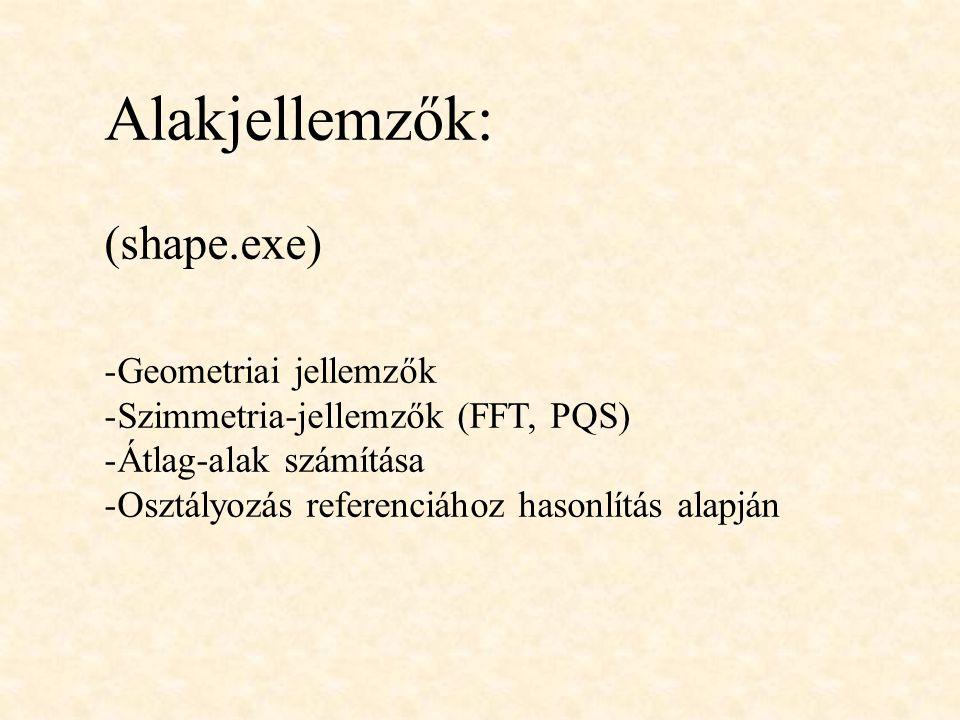 Alakjellemzők: (shape.exe) -Geometriai jellemzők -Szimmetria-jellemzők (FFT, PQS) -Átlag-alak számítása -Osztályozás referenciához hasonlítás alapján