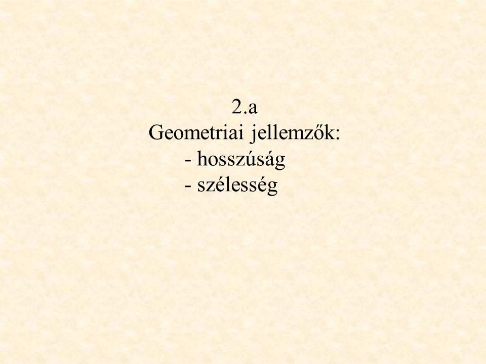2.a Geometriai jellemzők: - hosszúság - szélesség