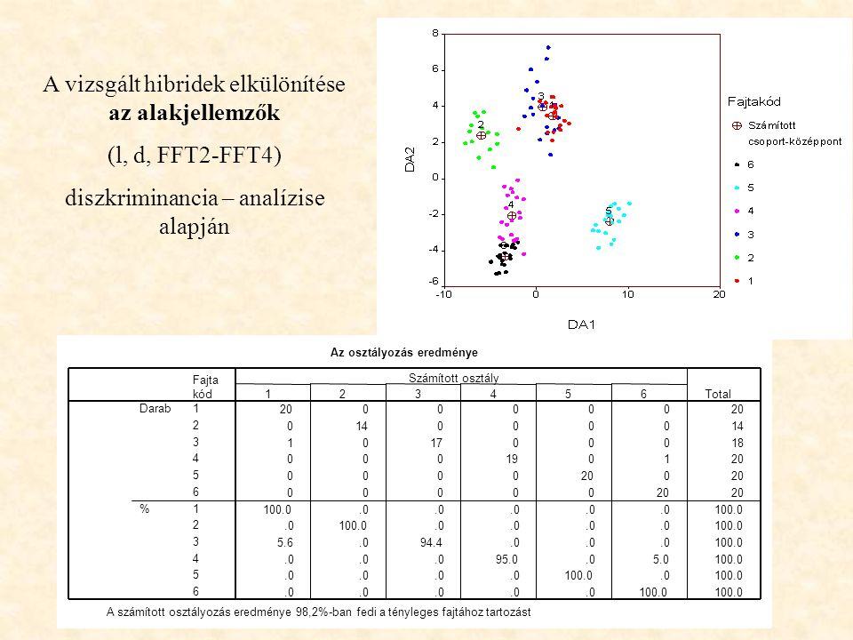 A vizsgált hibridek elkülönítése az alakjellemzők (l, d, FFT2-FFT4) diszkriminancia – analízise alapján Eredeti osztályok (hibridek) Az osztályozás eredménye 2000000 0140000 101700018 000190120 0000 0 00000 100.0.0 100.0.0100.0.0 100.0 5.6.094.4.0 100.0.0 95.0.05.0100.0.0 100.0.0100.0.0 100.0 Fajta kód 1 2 3 4 5 6 1 2 3 4 5 6 Darab % 123456 Számított osztály Total A számított osztályozás eredménye 98,2%-ban fedi a tényleges fajtához tartozást