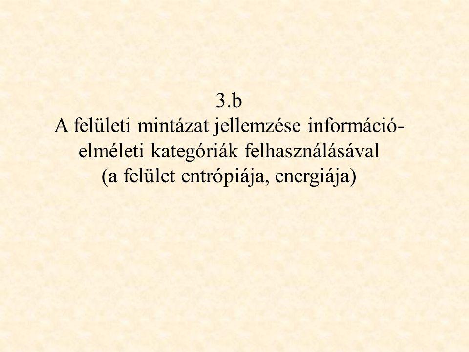 3.b A felületi mintázat jellemzése információ- elméleti kategóriák felhasználásával (a felület entrópiája, energiája)