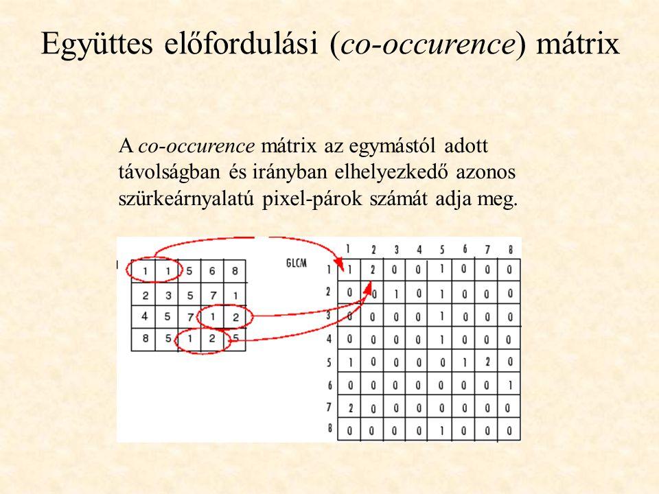 A co-occurence mátrix az egymástól adott távolságban és irányban elhelyezkedő azonos szürkeárnyalatú pixel-párok számát adja meg. Együttes előfordulás