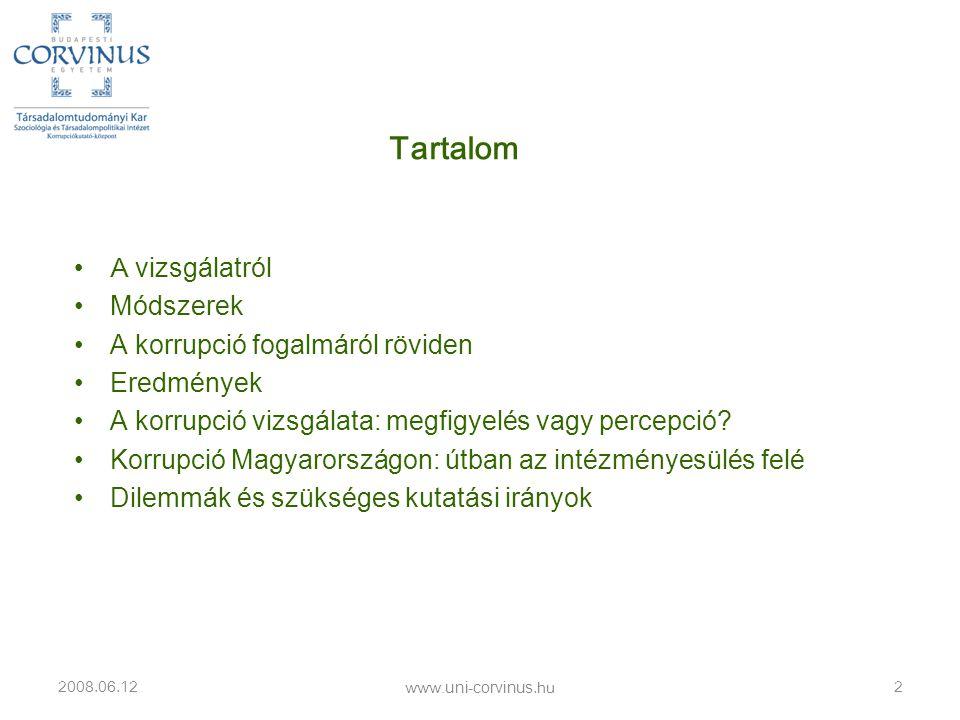 A korrupció vizsgálata: megfigyelés vagy percepció? www.uni-corvinus.hu
