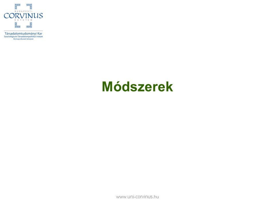 Módszerek www.uni-corvinus.hu