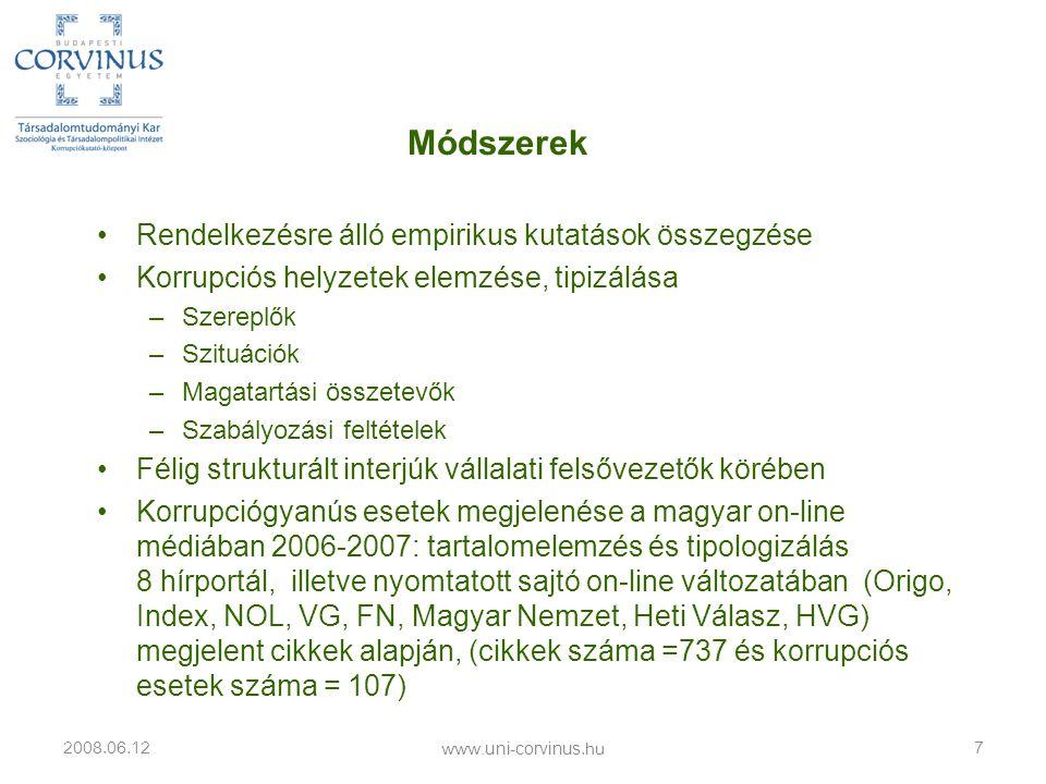 A korrupció hatásai 2008.06.12 www.uni-corvinus.hu 18 Vállalatvezetői szemmel