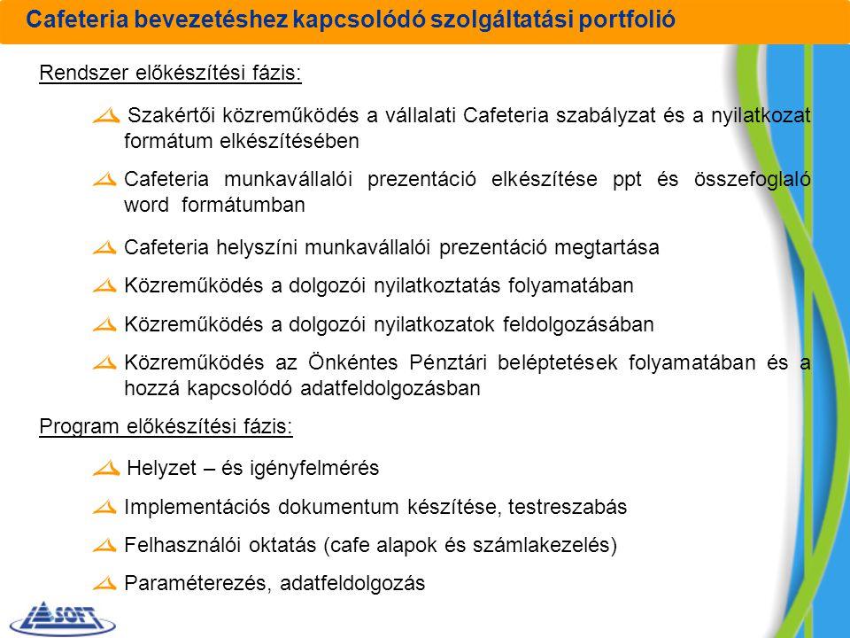 Cafeteria bevezetéshez kapcsolódó szolgáltatási portfolió Rendszer előkészítési fázis: Szakértői közreműködés a vállalati Cafeteria szabályzat és a ny