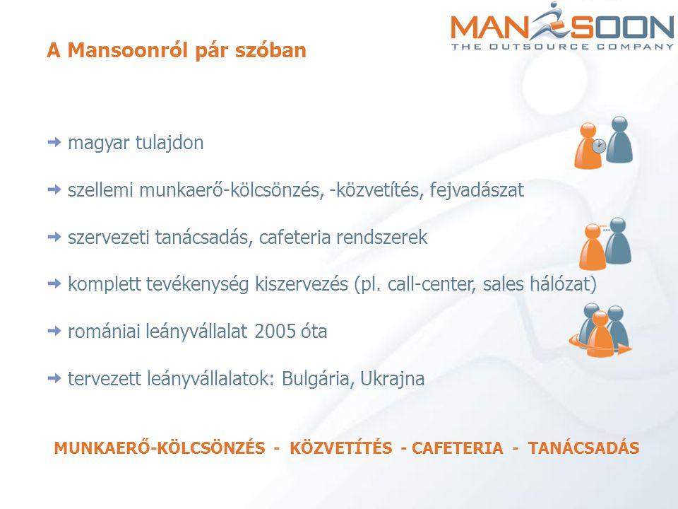 A Mansoonról pár szóban magyar tulajdon szellemi munkaerő-kölcsönzés, -közvetítés, fejvadászat szervezeti tanácsadás, cafeteria rendszerek komplett te