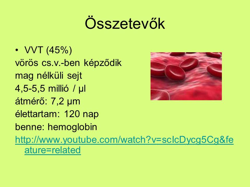 Összetevők FVS (1%) Immunsejtek http://www.youtube.com/watch?v=JnlULOjU hSQ vörös cs.v.-ben képződik 4-11 ezer / μl élettartam: 10 nap