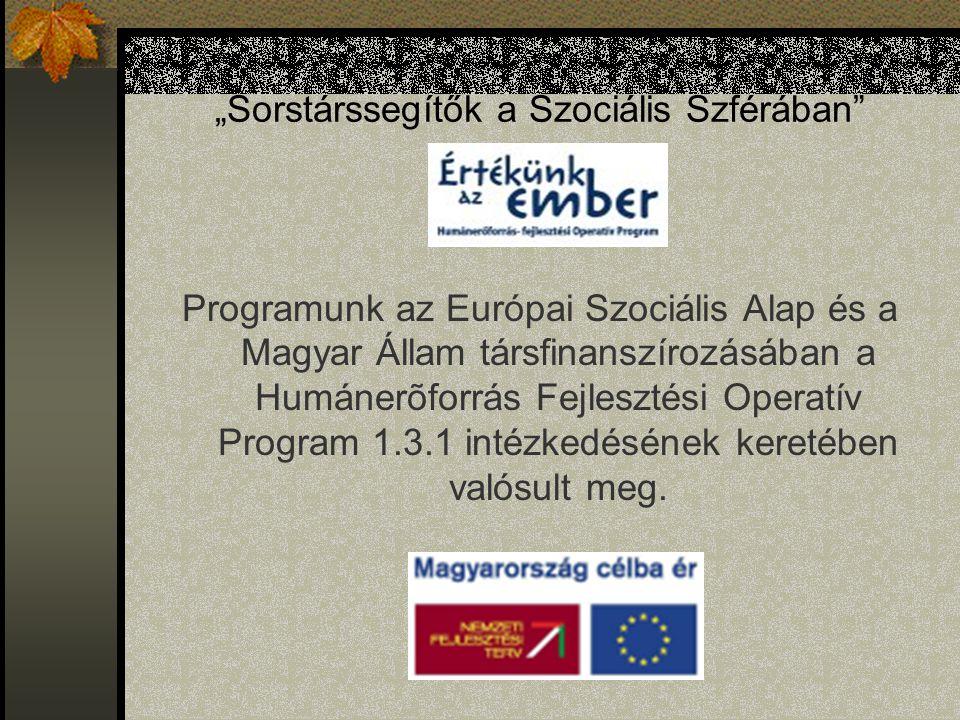 """""""Sorstárssegítők a Szociális Szférában Programunk az Európai Szociális Alap és a Magyar Állam társfinanszírozásában a Humánerõforrás Fejlesztési Operatív Program 1.3.1 intézkedésének keretében valósult meg."""