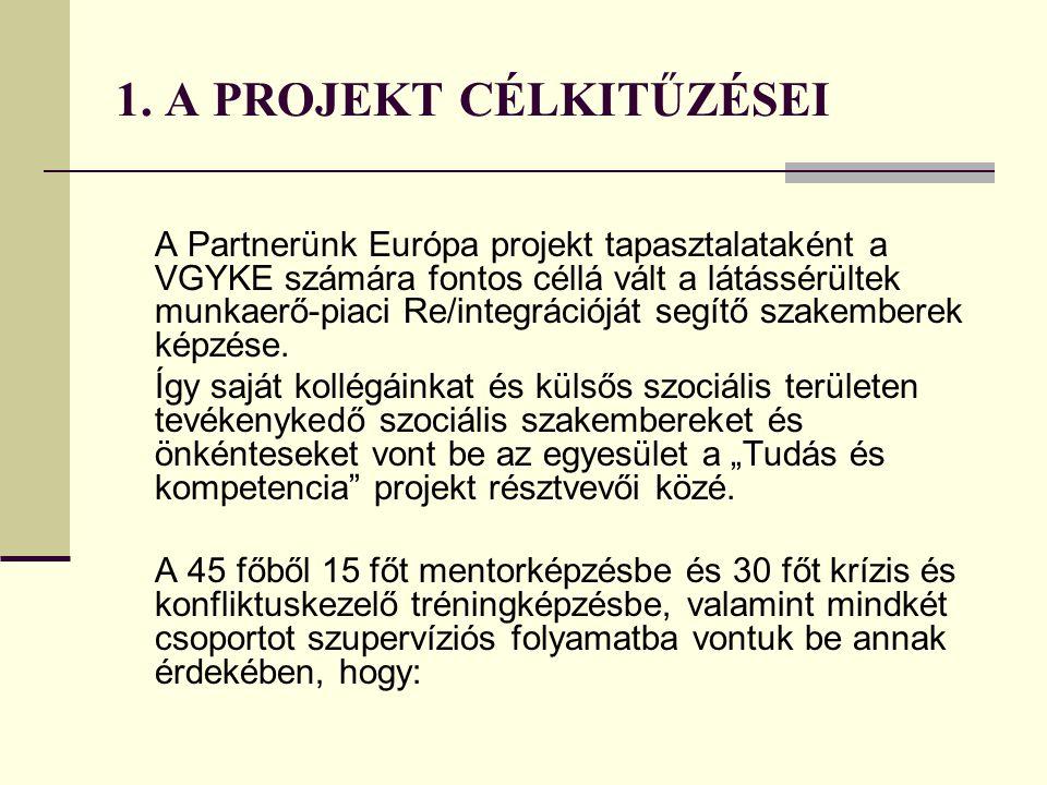 1. A PROJEKT CÉLKITŰZÉSEI A Partnerünk Európa projekt tapasztalataként a VGYKE számára fontos céllá vált a látássérültek munkaerő-piaci Re/integrációj