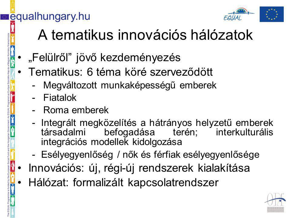 """A tematikus innovációs hálózatok """"Felülről jövő kezdeményezés Tematikus: 6 téma köré szerveződött - Megváltozott munkaképességű emberek - Fiatalok - Roma emberek -Integrált megközelítés a hátrányos helyzetű emberek társadalmi befogadása terén; interkulturális integrációs modellek kidolgozása -Esélyegyenlőség / nők és férfiak esélyegyenlősége Innovációs: új, régi-új rendszerek kialakítása Hálózat: formalizált kapcsolatrendszer"""