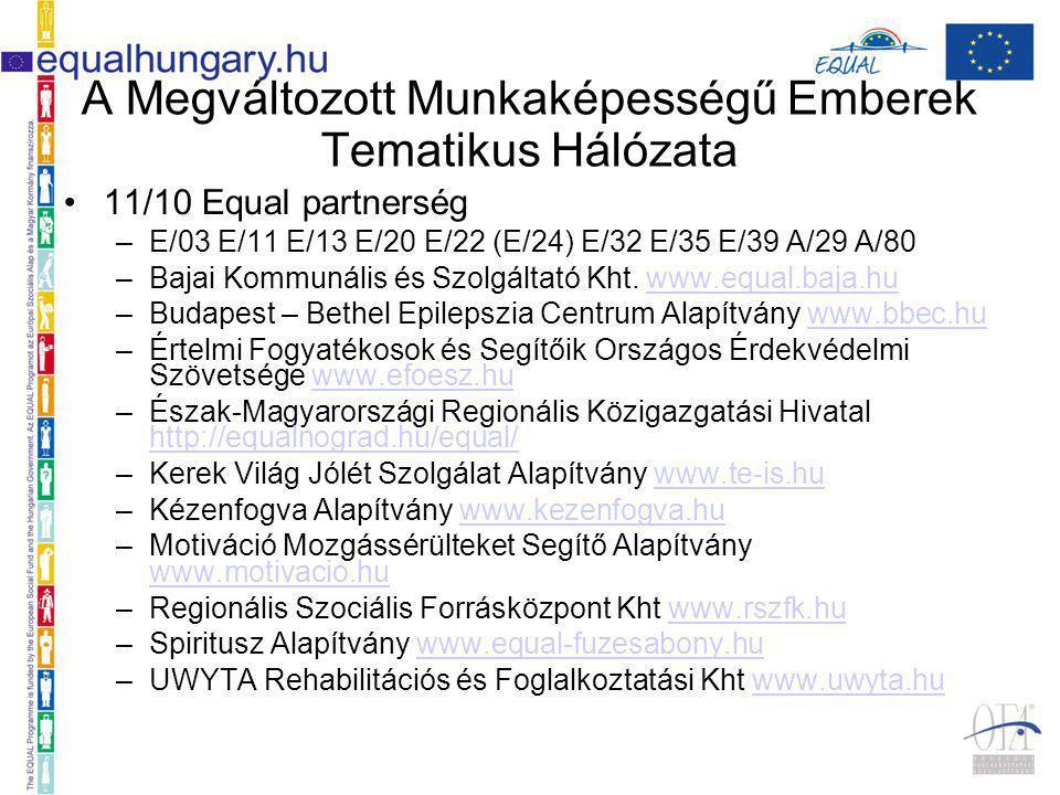 A Megváltozott Munkaképességű Emberek Tematikus Hálózata 11/10 Equal partnerség –E/03 E/11 E/13 E/20 E/22 (E/24) E/32 E/35 E/39 A/29 A/80 –Bajai Kommunális és Szolgáltató Kht.