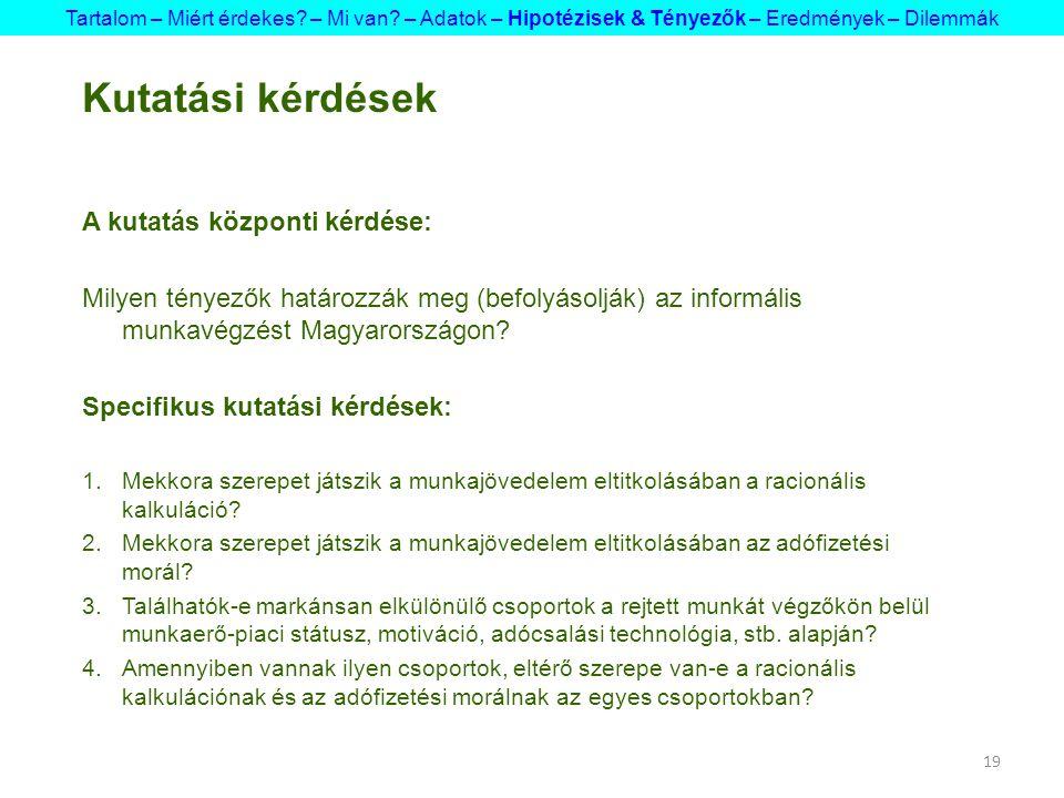 19 Kutatási kérdések A kutatás központi kérdése: Milyen tényezők határozzák meg (befolyásolják) az informális munkavégzést Magyarországon? Specifikus