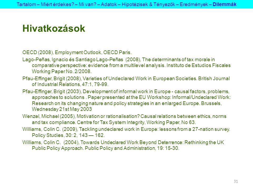 31 Hivatkozások OECD (2008), Employment Outlook, OECD Paris.