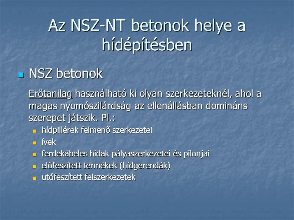 Az NSZ-NT betonok helye a hídépítésben NSZ betonok NSZ betonok Erőtanilag használható ki olyan szerkezeteknél, ahol a magas nyomószilárdság az ellenál