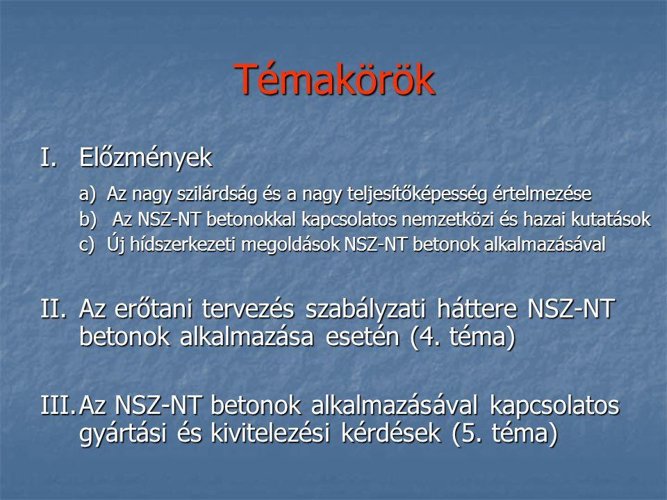 Témakörök I.Előzmények a)Az nagy szilárdság és a nagy teljesítőképesség értelmezése b) Az NSZ-NT betonokkal kapcsolatos nemzetközi és hazai kutatások