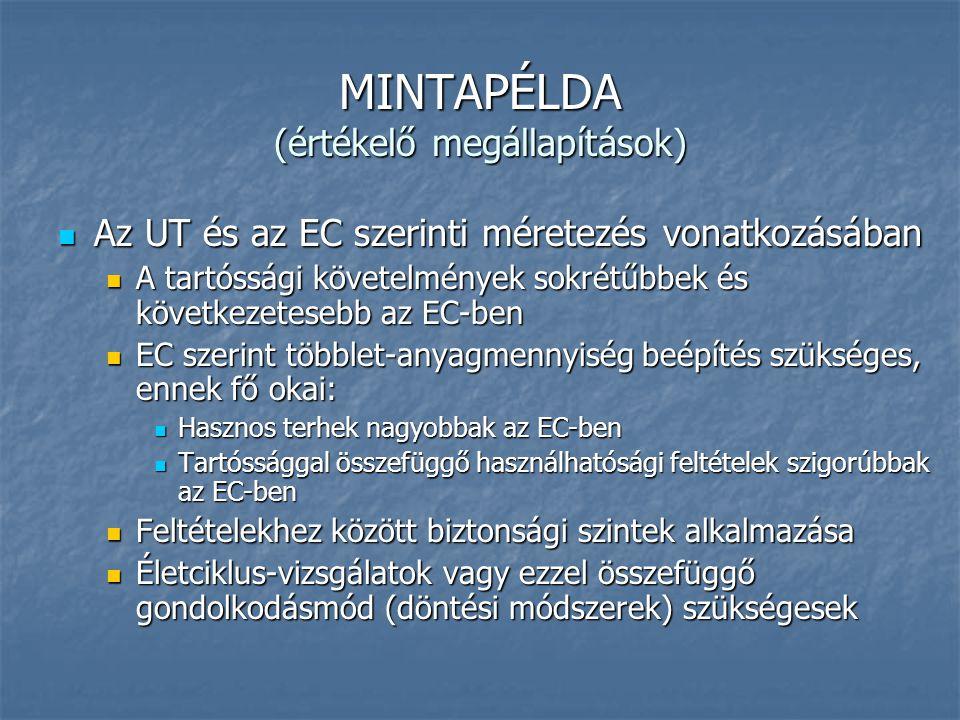 MINTAPÉLDA (értékelő megállapítások) Az UT és az EC szerinti méretezés vonatkozásában Az UT és az EC szerinti méretezés vonatkozásában A tartóssági kö