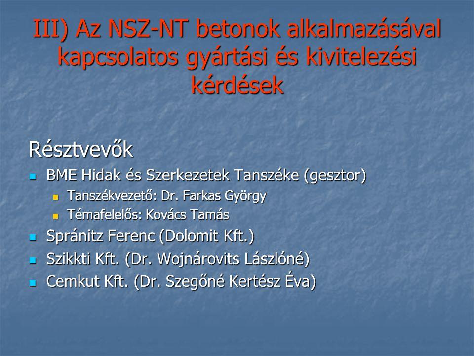III) Az NSZ-NT betonok alkalmazásával kapcsolatos gyártási és kivitelezési kérdések Résztvevők BME Hidak és Szerkezetek Tanszéke (gesztor) BME Hidak é