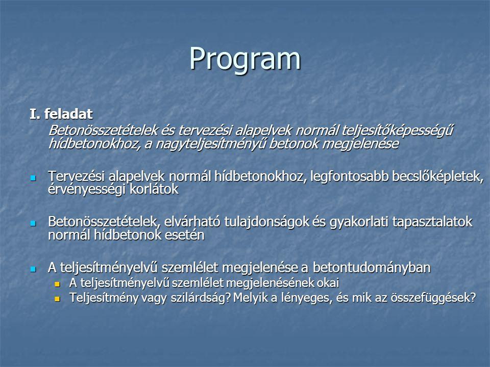 Program I. feladat Betonösszetételek és tervezési alapelvek normál teljesítőképességű hídbetonokhoz, a nagyteljesítményű betonok megjelenése Tervezési
