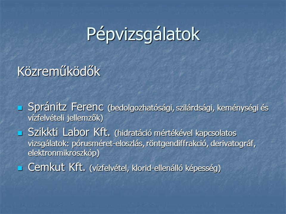 Pépvizsgálatok Közreműködők Spránitz Ferenc (bedolgozhatósági, szilárdsági, keménységi és vízfelvételi jellemzők) Spránitz Ferenc (bedolgozhatósági, s