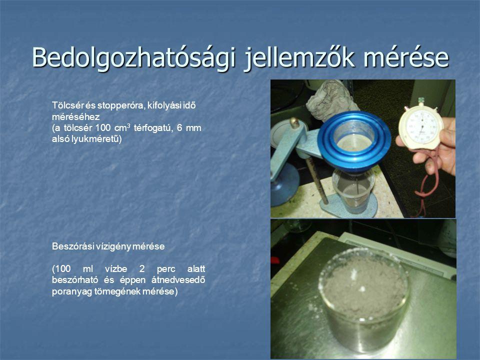Tölcsér és stopperóra, kifolyási idő méréséhez (a tölcsér 100 cm 3 térfogatú, 6 mm alsó lyukméretű) Beszórási vízigény mérése (100 ml vízbe 2 perc ala