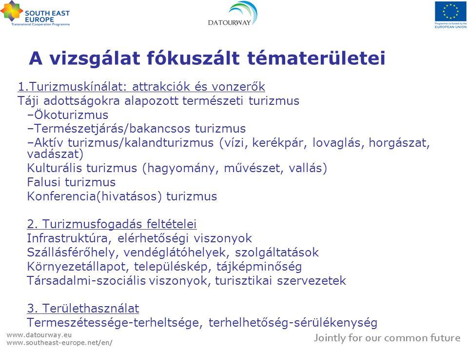 A vizsgálat fókuszált tématerületei 1.Turizmuskínálat: attrakciók és vonzerők Táji adottságokra alapozott természeti turizmus –Ökoturizmus –Természetjárás/bakancsos turizmus –Aktív turizmus/kalandturizmus (vízi, kerékpár, lovaglás, horgászat, vadászat) Kulturális turizmus (hagyomány, művészet, vallás) Falusi turizmus Konferencia(hivatásos) turizmus 2.
