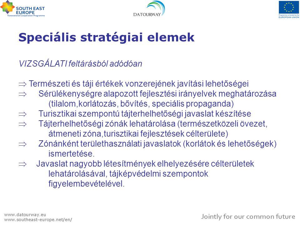 Speciális stratégiai elemek VIZSGÁLATI feltárásból adódóan  Természeti és táji értékek vonzerejének javítási lehetőségei  Sérülékenységre alapozott fejlesztési irányelvek meghatározása (tilalom,korlátozás, bővítés, speciális propaganda)  Turisztikai szempontú tájterhelhetőségi javaslat készítése  Tájterhelhetőségi zónák lehatárolása (természetközeli övezet, átmeneti zóna,turisztikai fejlesztések célterülete)  Zónánként területhasználati javaslatok (korlátok és lehetőségek) ismertetése.