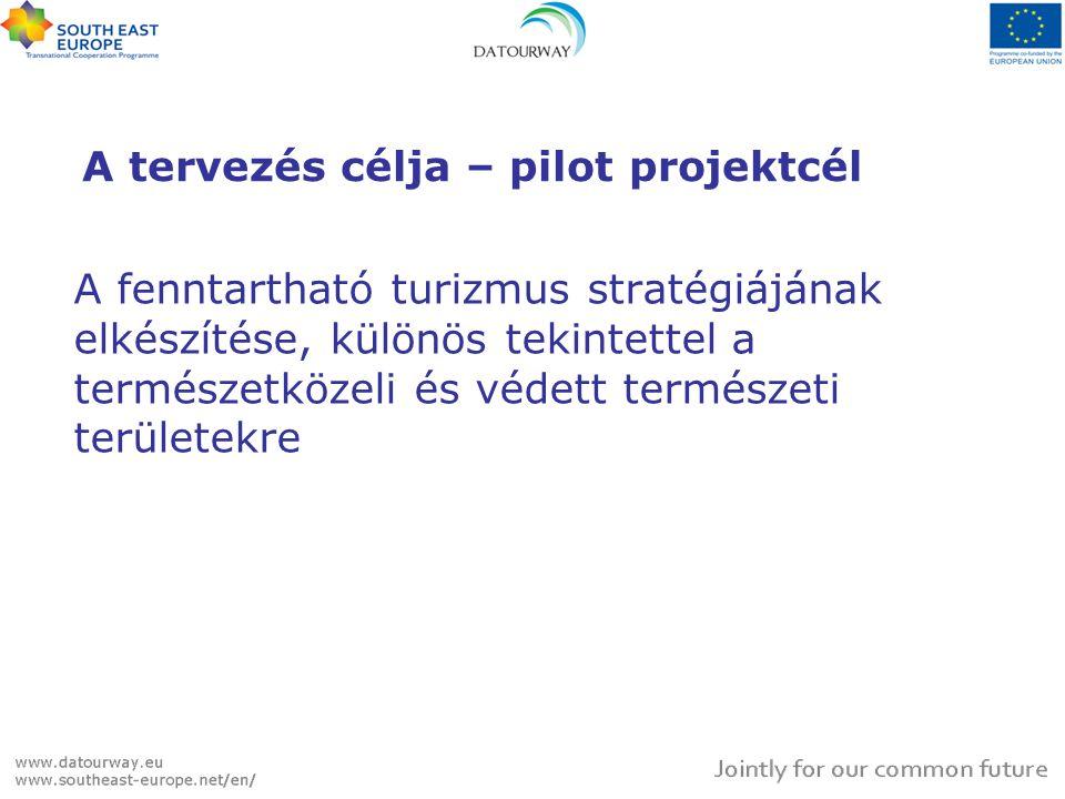 A PILOT PROJEKT CÉLRENDSZERE Átfogó cél A pilot projekt eredményeinek a Datourway közös nemzetközi stratégiába való illesztése  Pilot projekt cél Az Alsó-Ipoly mente fenntartható turisztikai stratégiájának elkészítése  Eredmények 1.Vizsgálat 2.Stratégia 3.Akcióterv - Projektjavaslatok 4.Befektetési javaslatok 5.Tervezési tanulságok 6.DTW stratégiába illesztés + adatbázis bővítés 7.Kiadvány  TevékenységekMunkatervtáblázat
