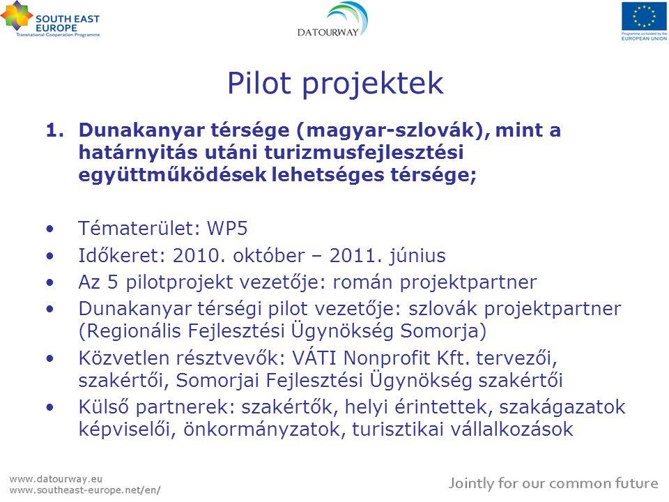 Pilot projektek 1.Dunakanyar térsége (magyar-szlovák), mint a határnyitás utáni turizmusfejlesztési együttműködések lehetséges térsége; Tématerület: W