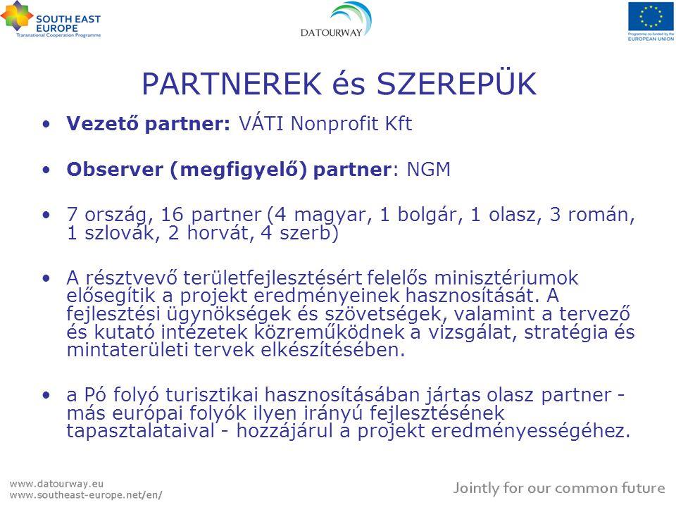 PARTNEREK és SZEREPÜK Vezető partner: VÁTI Nonprofit Kft Observer (megfigyelő) partner: NGM 7 ország, 16 partner (4 magyar, 1 bolgár, 1 olasz, 3 román