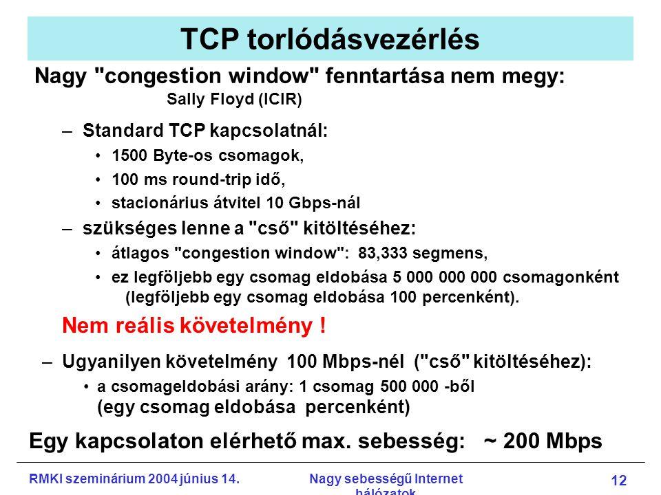 RMKI szeminárium 2004 június 14.Nagy sebességű Internet hálózatok 12 TCP torlódásvezérlés –Standard TCP kapcsolatnál: 1500 Byte-os csomagok, 100 ms round-trip idő, stacionárius átvitel 10 Gbps-nál –szükséges lenne a cső kitöltéséhez: átlagos congestion window : 83,333 segmens, ez legföljebb egy csomag eldobása 5 000 000 000 csomagonként (legföljebb egy csomag eldobása 100 percenként).