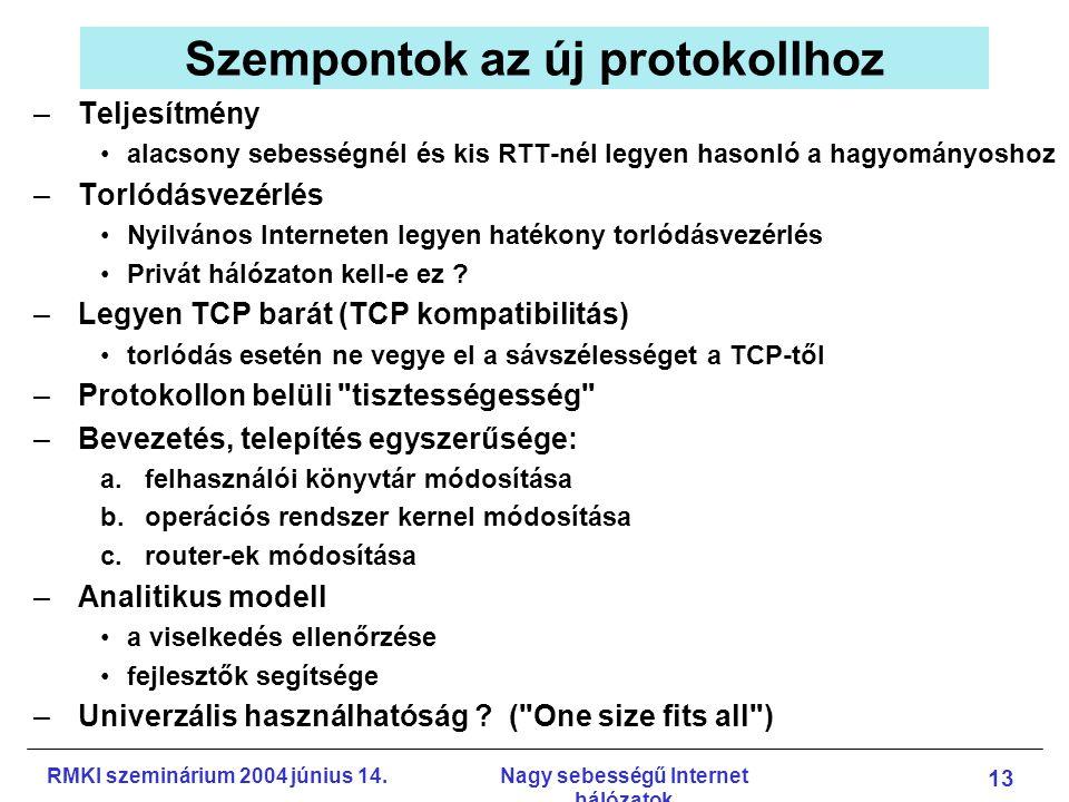 RMKI szeminárium 2004 június 14.Nagy sebességű Internet hálózatok 13 Szempontok az új protokollhoz –Teljesítmény alacsony sebességnél és kis RTT-nél legyen hasonló a hagyományoshoz –Torlódásvezérlés Nyilvános Interneten legyen hatékony torlódásvezérlés Privát hálózaton kell-e ez .